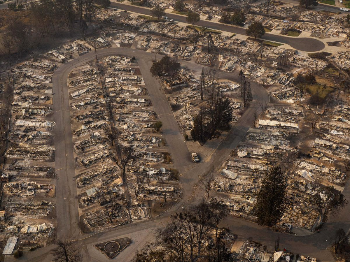 In this aerial view from a drone, homes destroyed by fire are shown on September 10, 2020 in Phoenix, Oregon. Hundreds of homes in the town have been lost due to wildfire.