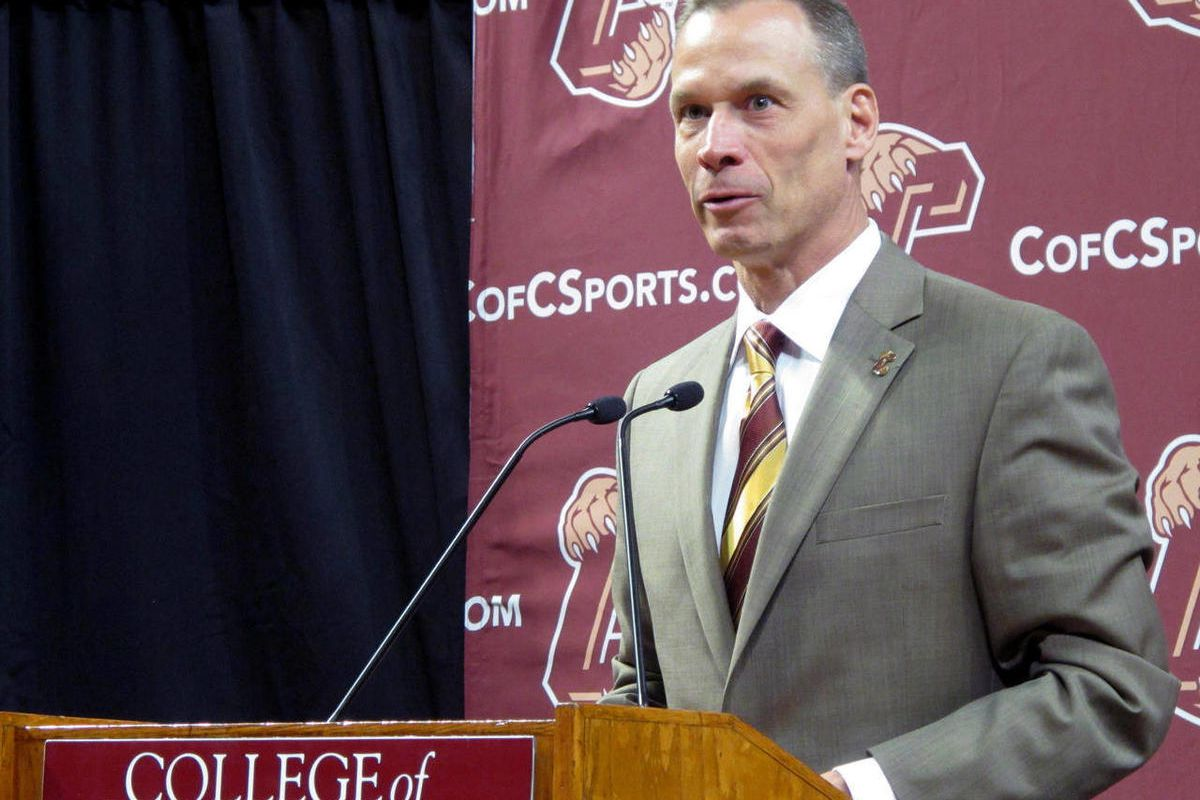 New College of Charleston men's basketball coach Doug Wojcik speaks after being introduced during a news conference at the school  in Charleston, S.C., Wednesday, April 4, 2012.