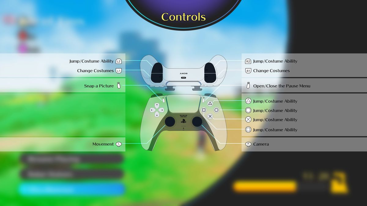 A screenshot of Balan Wonderworld's controls menu