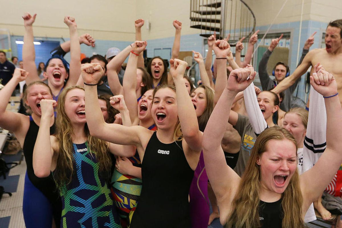 Sky View High School celebrates the win in the girls 5A State High School Swimming Championships in Provo on Friday, Feb. 10, 2017.