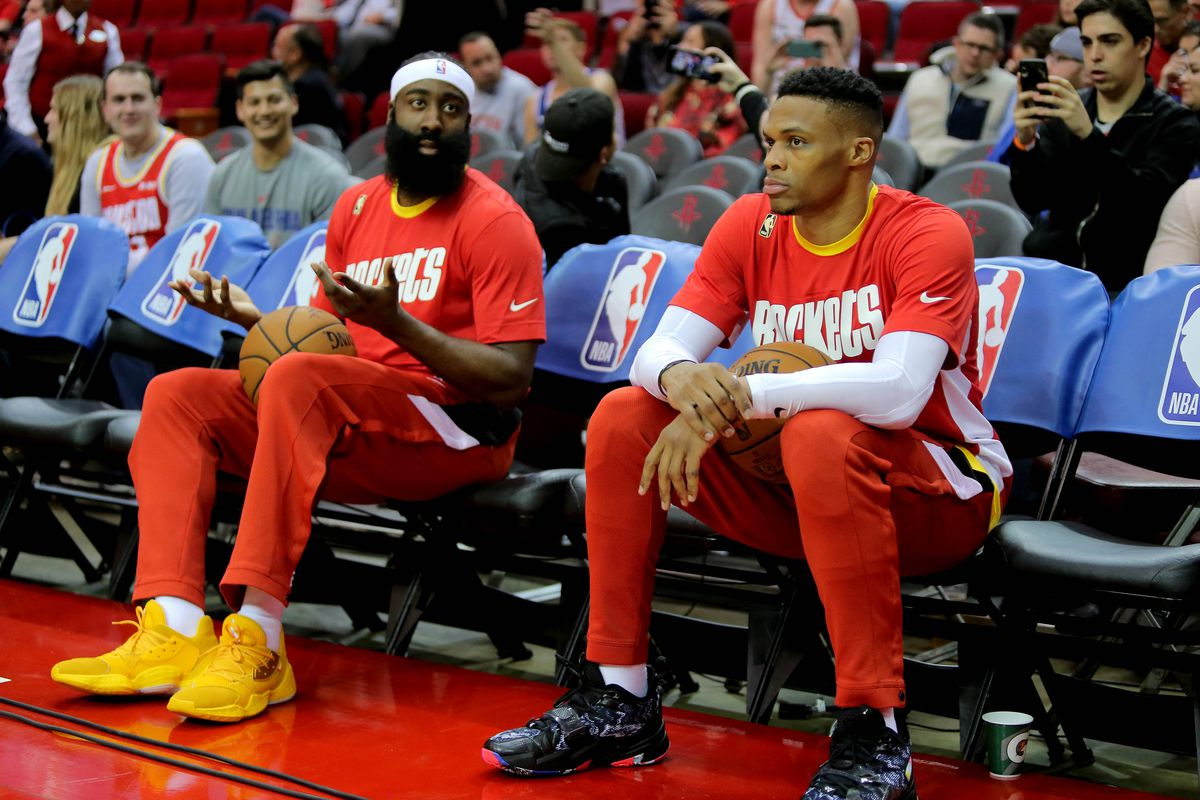 Houston Rockets guard James Harden and Houston Rockets guard Russell Westbrook prior to the game against the Philadelphia 76ers at Toyota Center.