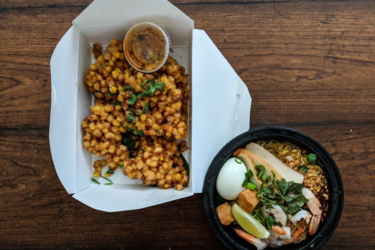 Corn cakes and Sukothai noodles, takeout, from Kala Thai Cookery