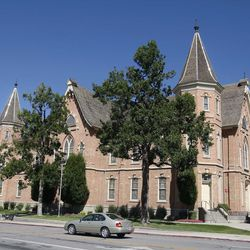 The Provo Tabernacle in 2008. Following a fire in 2010, LDS Church leaders announced this remains would be remade into the Provo City Center Temple in 2016.