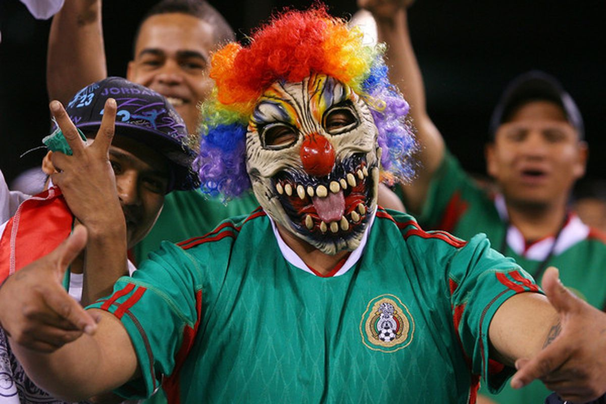 EAST RUTHERFORD, NJ - MAY 07:  A fan of Mexico celebrates during the match against Ecuador in the FMF U.S. Tour on May 7, 2010 at the New Meadowlands Stadium in East Rutherford, New Jersey.  (Photo by Mike Stobe/Getty Images)