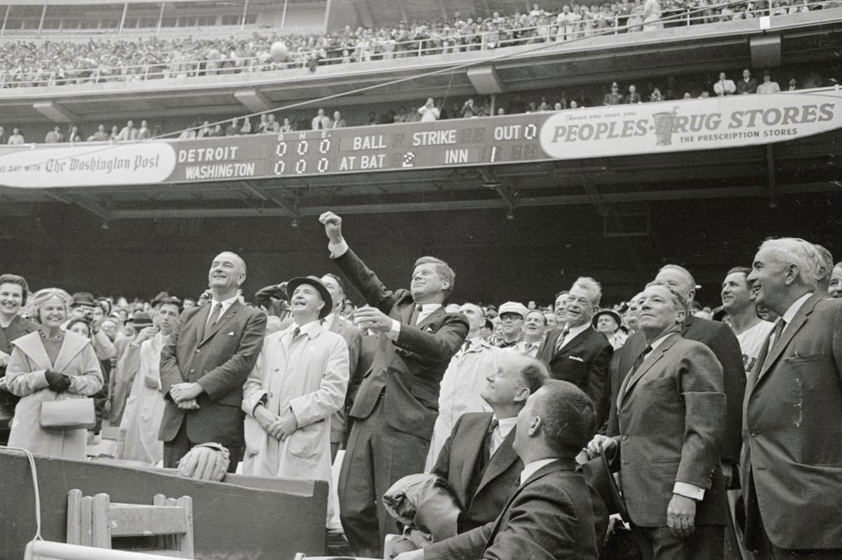 President Kennedy Tossing Out First Baseball of Season