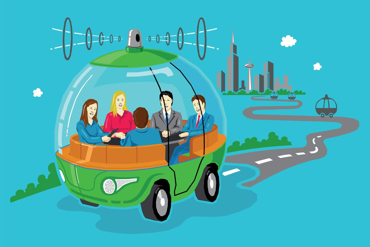 An illustration of people in round, tram-style self-driving car.