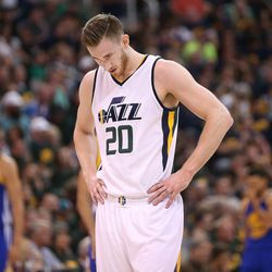 Utah Jazz forward Gordon Hayward hangs his head during the second round of the playoffs in Salt Lake City on Saturday, May 6, 2017.