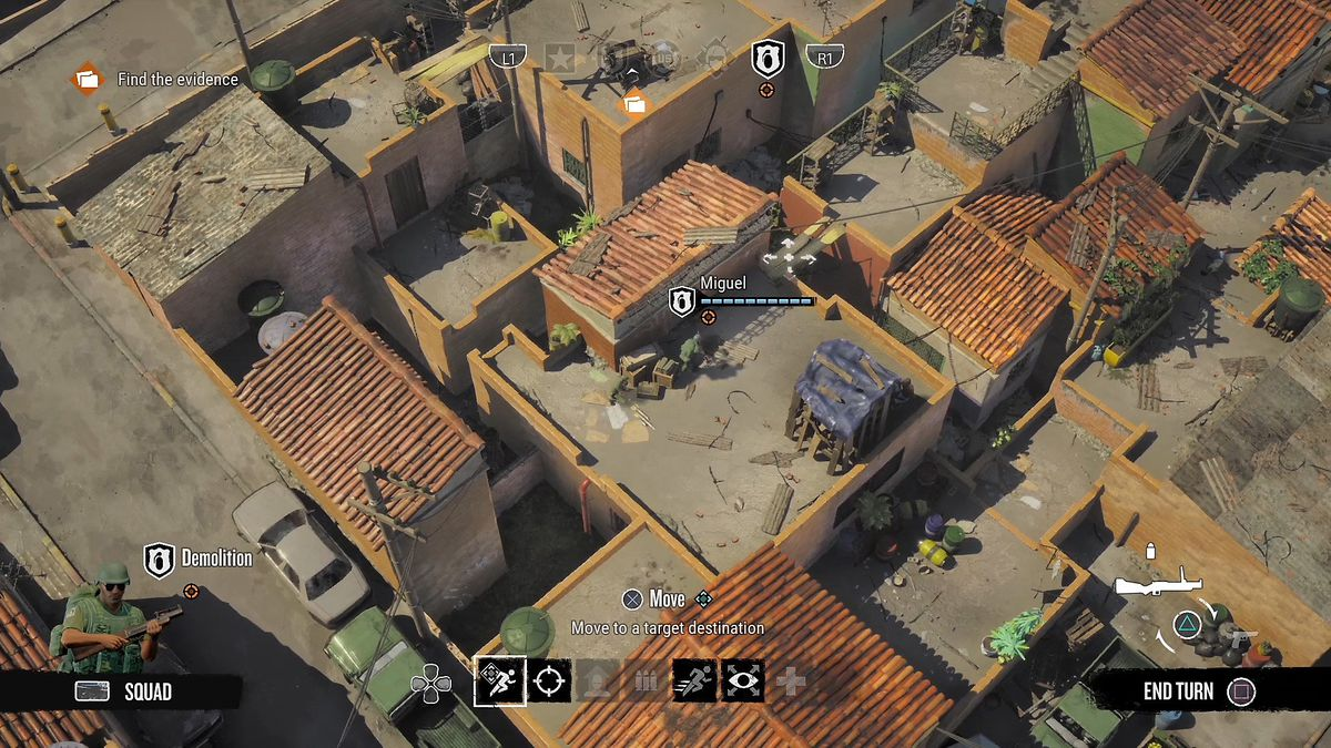 Overhead view of a favela on Narcos: Rise of the Cartels' playing map