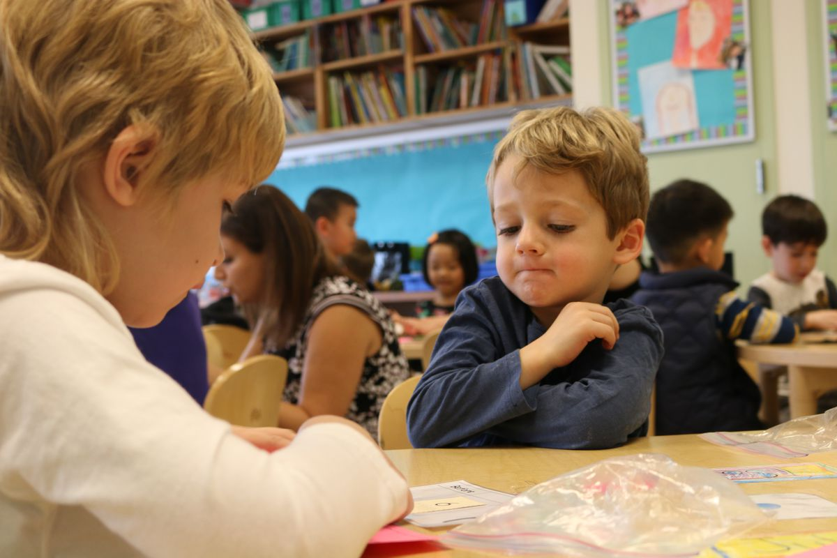 Kindergarten students at the Brooklyn School of Inquiry in 2016. Admission to the citywide gifted and talented program is based on a screening exam given at age 4.