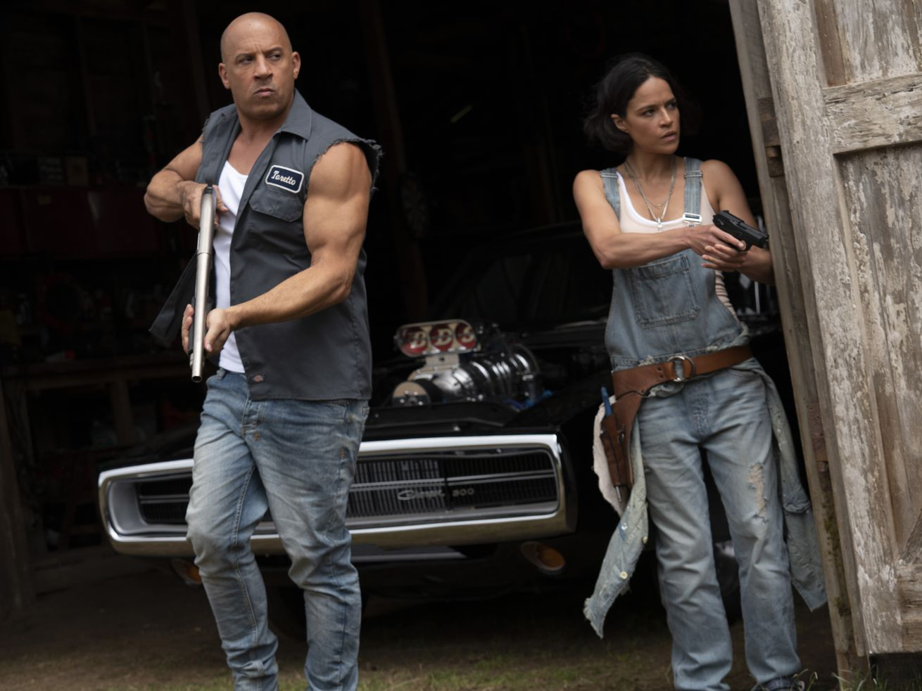 """Vin Diesel and Michelle Rodriguez are shown in a scene from """"F9."""""""