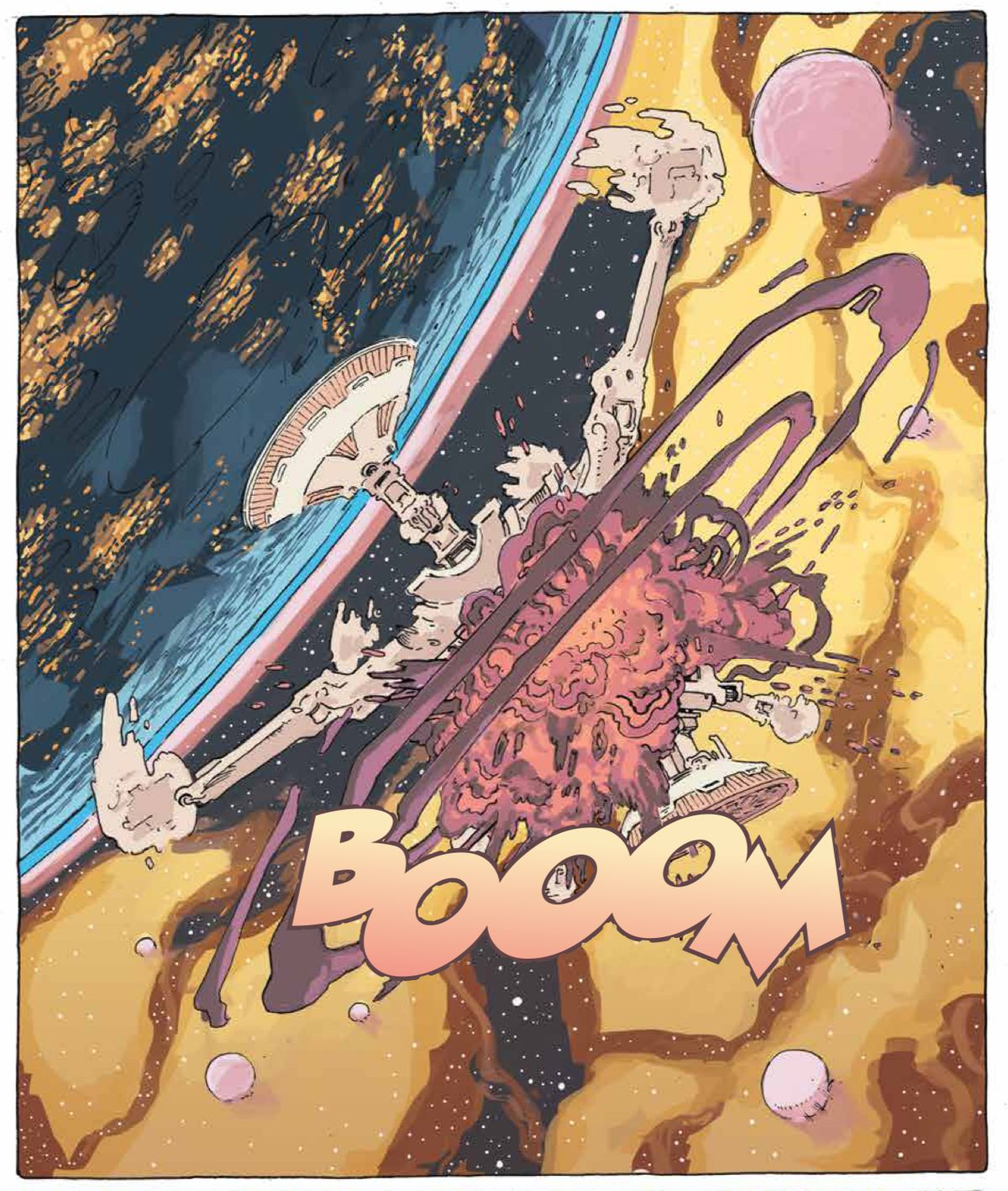 A space station explodes in Tartarus #1, Image Comics (2020).