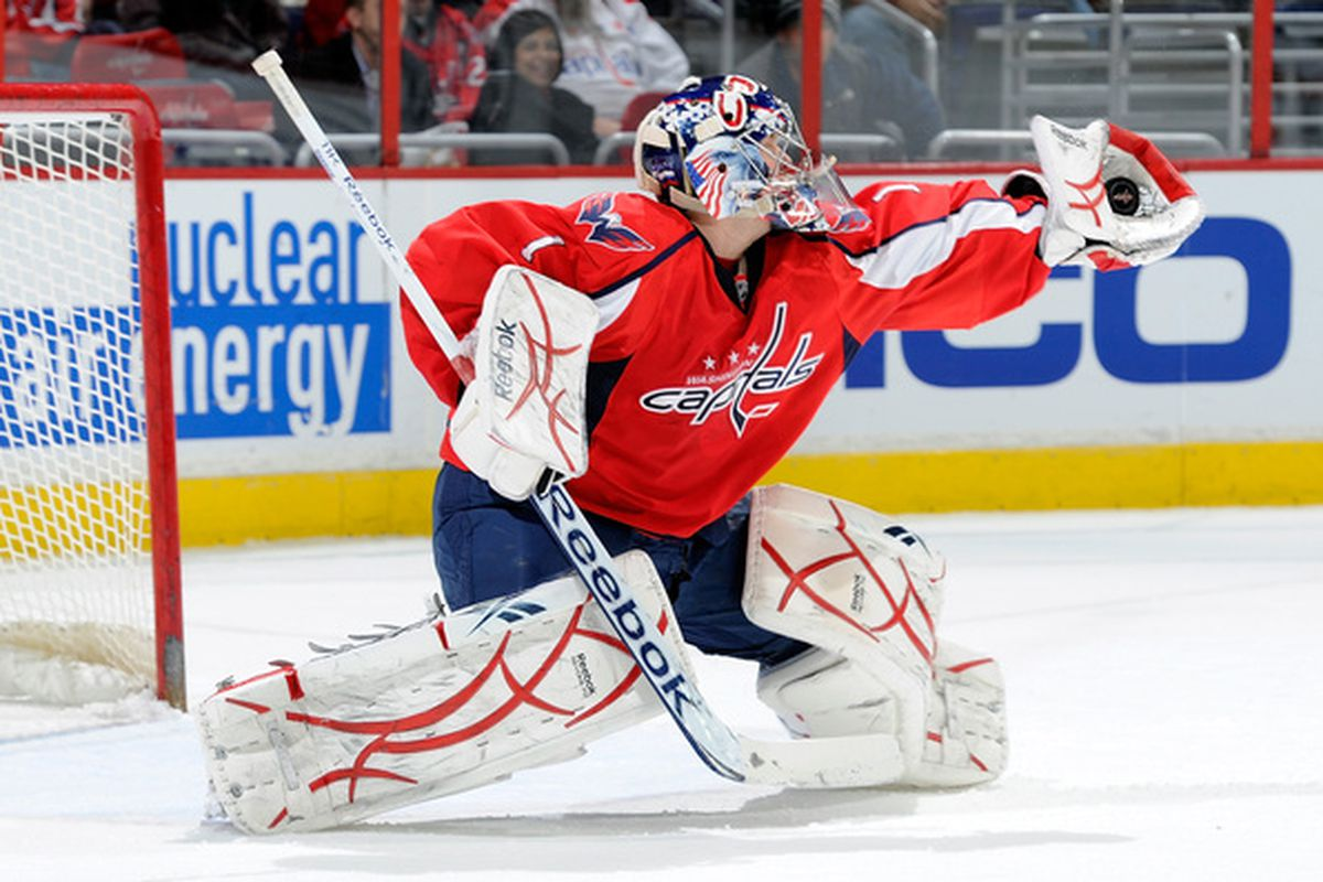 WASHINGTON DC - DECEMBER 09:  Semyon Varlamov #1 of the Washington Capitals makes a save against the Florida Panthers at the Verizon Center on December 9 2010 in Washington DC.  (Photo by Greg Fiume/Getty Images)