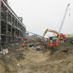 View of excavation in the triangle lot