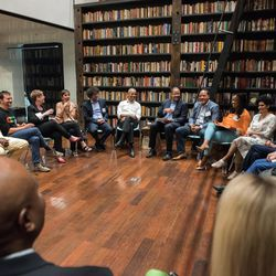 Former President Barack Obama participates in a roundtable discussion at Stony Island Arts Bank in South Shore. | The Obama Foundation