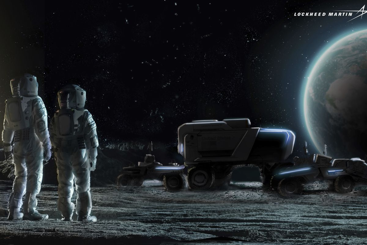 This illustration provided by General Motors and Lockheed Martin in May 2021 depicts astronauts and concepts of lunar rovers on the surface of the moon. On Wednesday, May 26, 2021, Lockheed and GM announced that they would combine their technological and manufacturing expertise to build the electric vehicles for NASA's Artemis program, named after the twin sister of Apollo in Greek mythology.