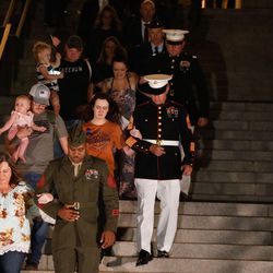 Family members of Marine Staff Sgt. Taylor Hoover arrive at the Capitol to attend a memorial vigil to honor his life and serviceat the Capitol in Salt Lake City on Sunday, Aug. 29, 2021. Hoover was one of the 13 U.S. service members killed by the terrorist attack at Hamid Karzai International Airport in Kabul, Afghanistan.