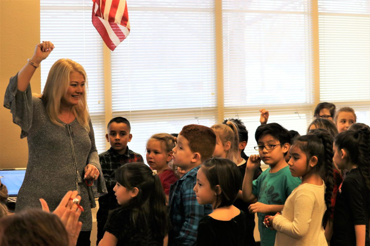 Pam Swanson, superintendent of Westminster Public Schools, with students.
