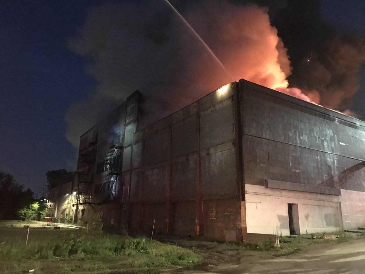 Firefighters respond to a blaze at the old Gatelys People's Store building at 112th Street and Edbrooke Avenue in Roseland, June 7, 2019.