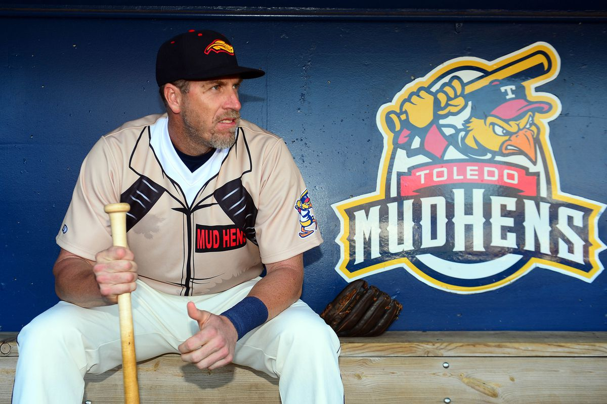 Mike Hessman prior to the May 30, 2014 game in which he tied the International League home run record, wearing a Ghostbusters uniform.