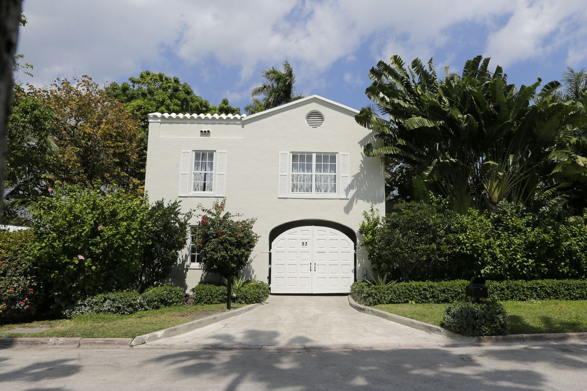The gatehouse entrance of the waterfront mansion once owned by Al Capone in Miami Beach that the gang boss owned for nearly two decades and died in is facing demolition.