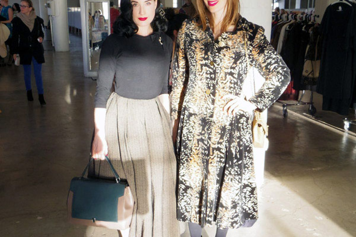 """Dita von Teese and Liz Goldwyn at A Current Affair in December. Image <a href=""""http://la.racked.com/archives/2013/12/09/throwback_inspo_from_a_current_affairs_vintage_shopping_party.php"""">via</a>"""