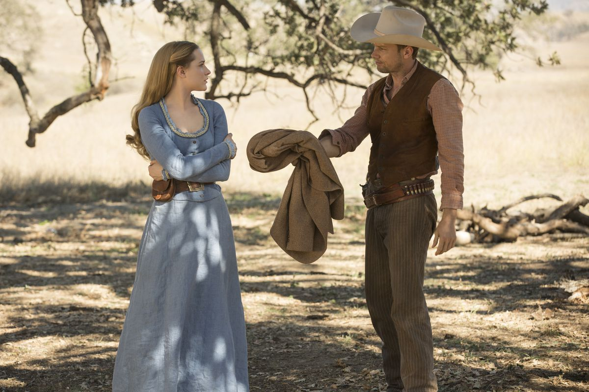 Evan Rachel Wood and Jimmi Simpson in the HBO show Westworld