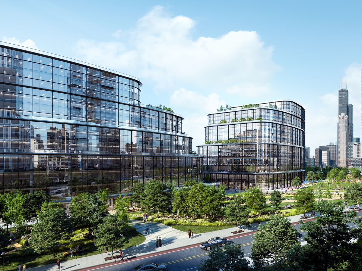 A rendering of a glassy office complex flanked by parkspace and tall high-rise buildings.