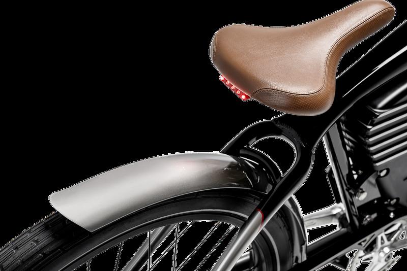 Leather bike seat and powder-coated aluminum bike frame.