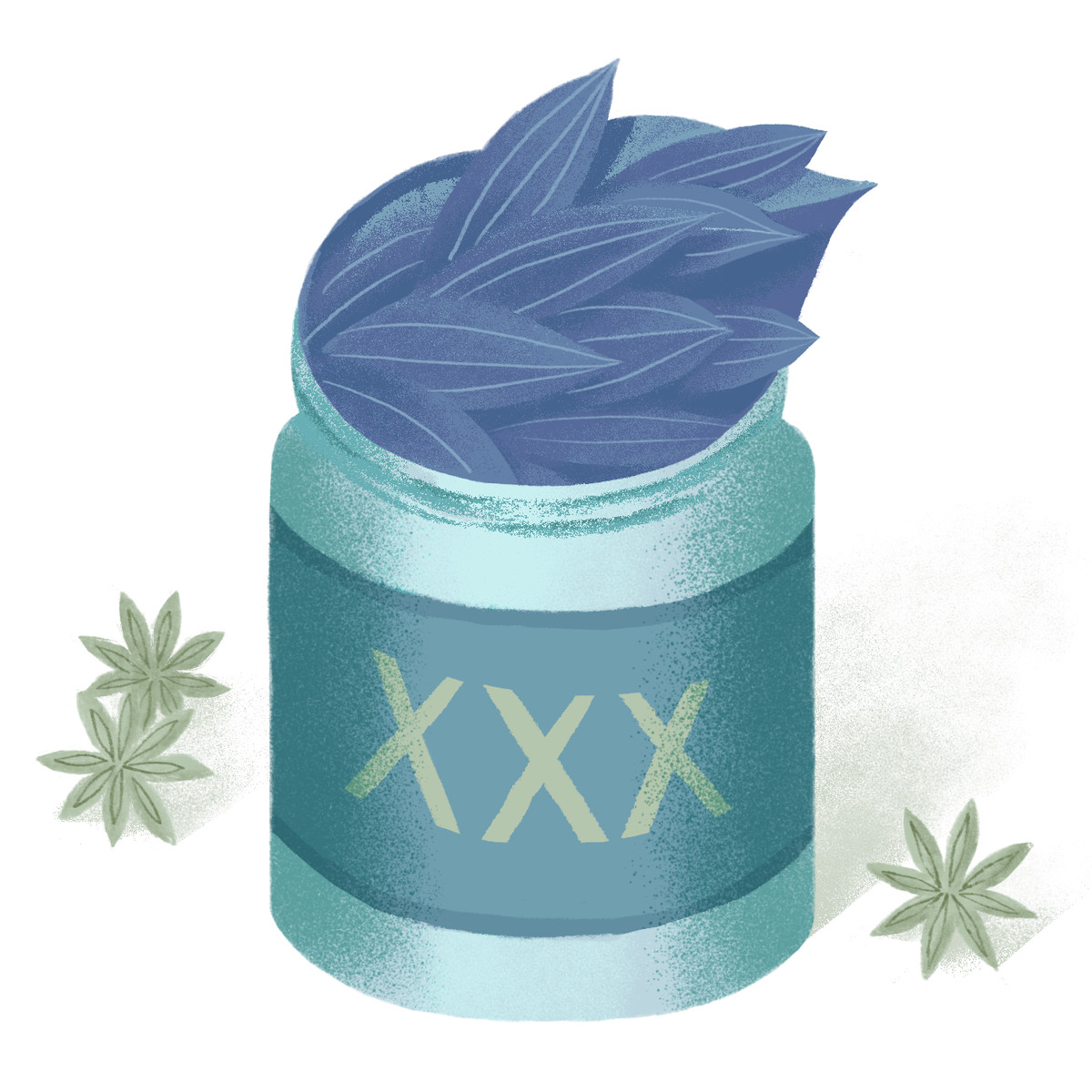 "An illustration showing a pill bottle marked with ""XXX"" with leaves or food items sticking out the top."