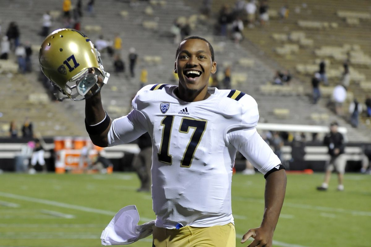 Brett Hundley shares his joy with the six Colorado fans still in attendance at the end of the UCLA 42-14 victory in 2012