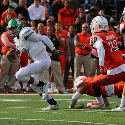 Quarterback Todd Porter eluding a tackle
