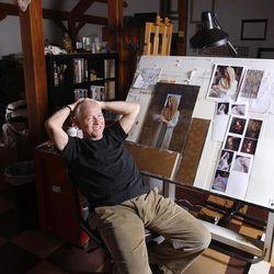 James Christensen in his art studio.