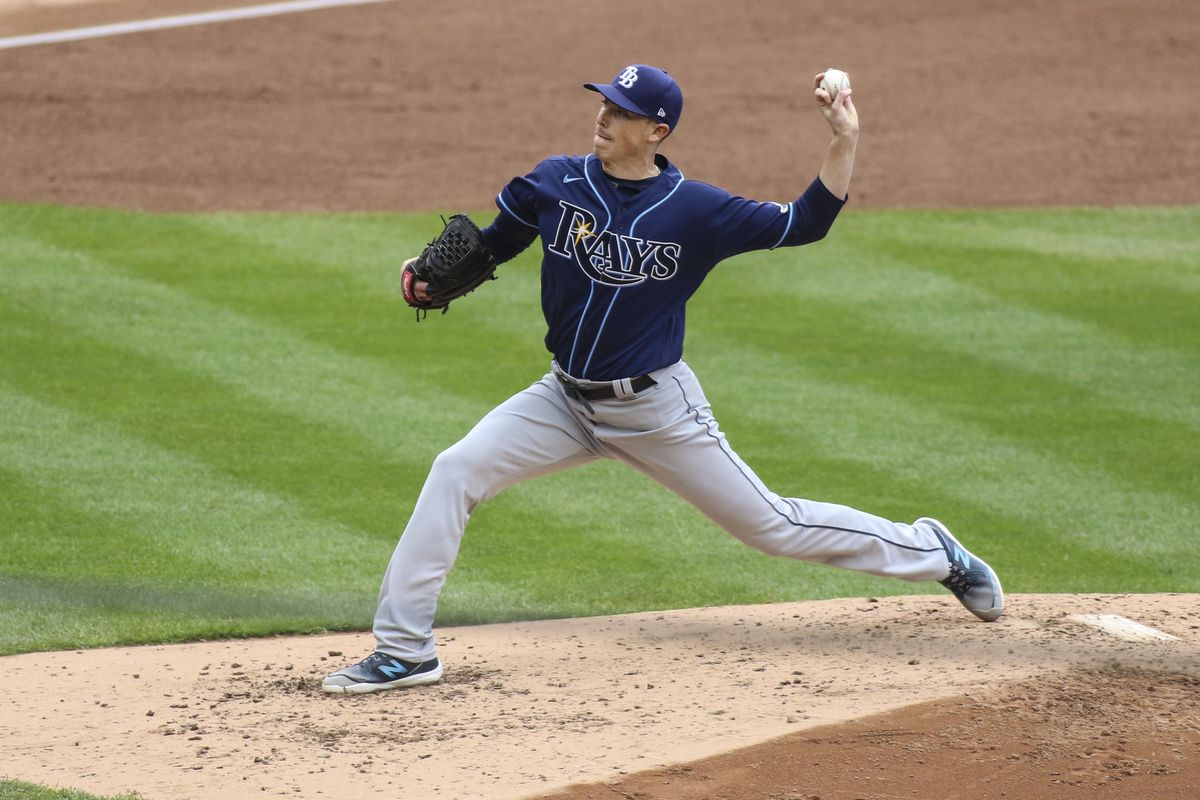 Tampa Bay Rays pitcher Ryan Yarbrough (48) delivers against the New York Yankees in the third inning at Yankee Stadium.