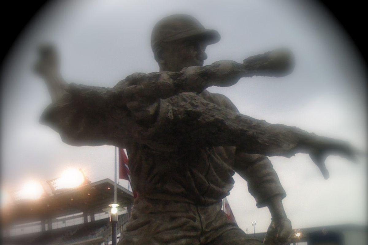 Washington Senators' starter Walter Johnson's statue in Nationals Park, Washington, D.C.