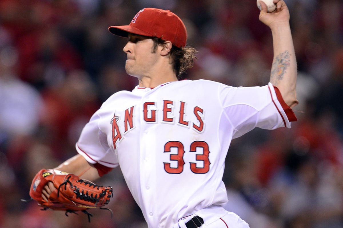 ANAHEIM, CA - MAY 05:  C.J. Wilson #33 of the Los Angeles Angels pitches against the Toronto Blue Jays during the fifth inning at Angel Stadium of Anaheim on May 5, 2012 in Anaheim, California.  (Photo by Harry How/Getty Images)