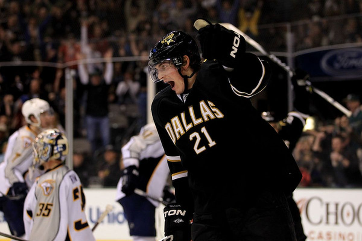 DALLAS, TX - FEBRUARY 26:  Left wing Loui Eriksson #21 of the Dallas Stars celebrates his goal against the Nashville Predators at American Airlines Center on February 26, 2011 in Dallas, Texas.  (Photo by Ronald Martinez/Getty Images)