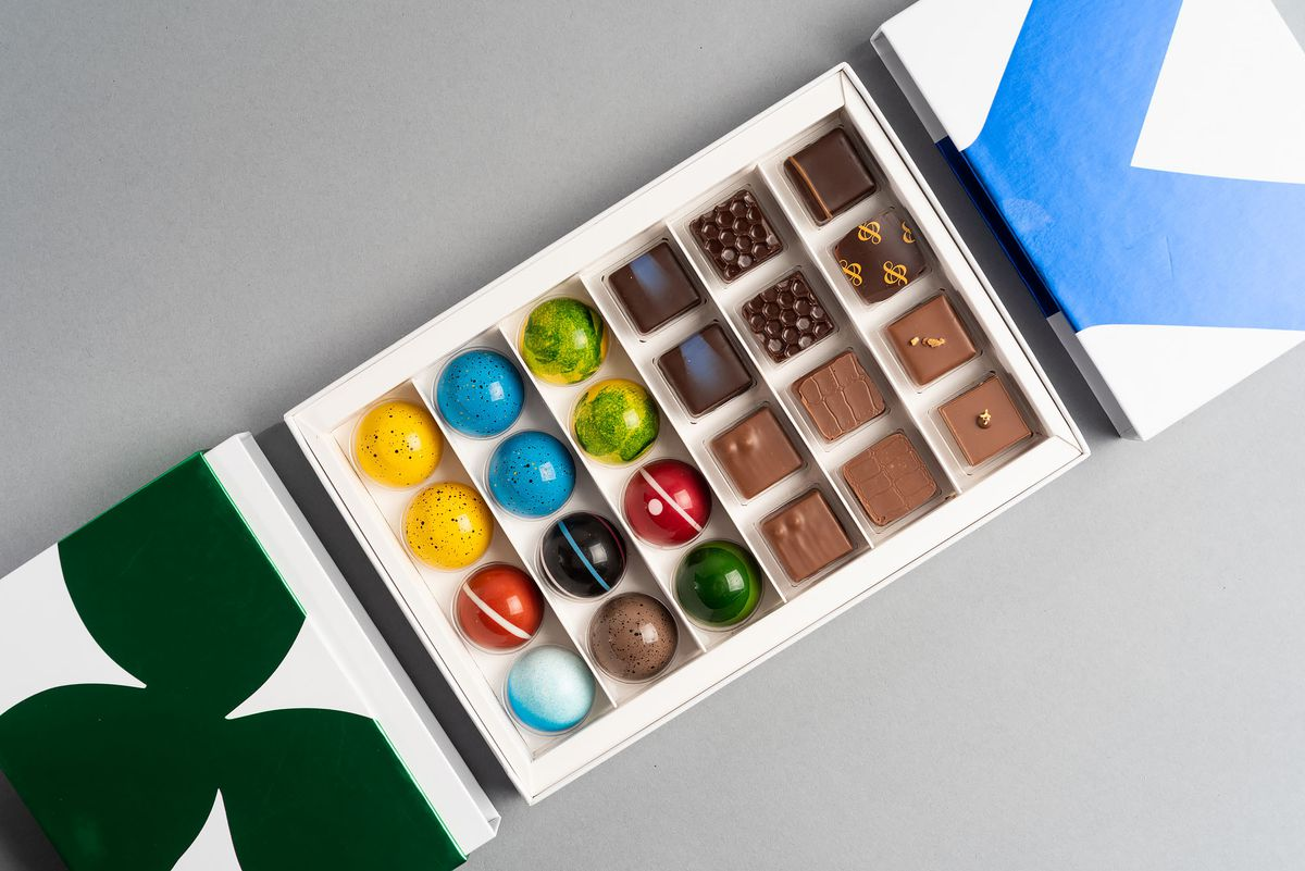 Chocolates from andSons in a colorful box