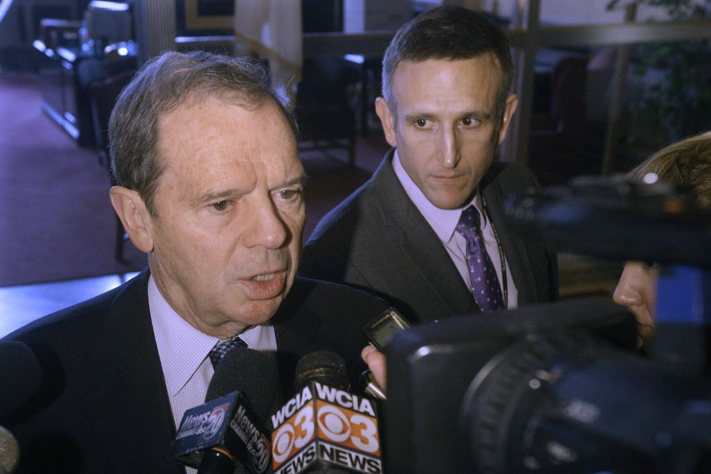 Senate President John Cullerton, D-Chicago, speaks to reporters outside Gov. Bruce Rauner's office at the Illinois State Capitol Tuesday. (AP Photo/Seth Perlman)