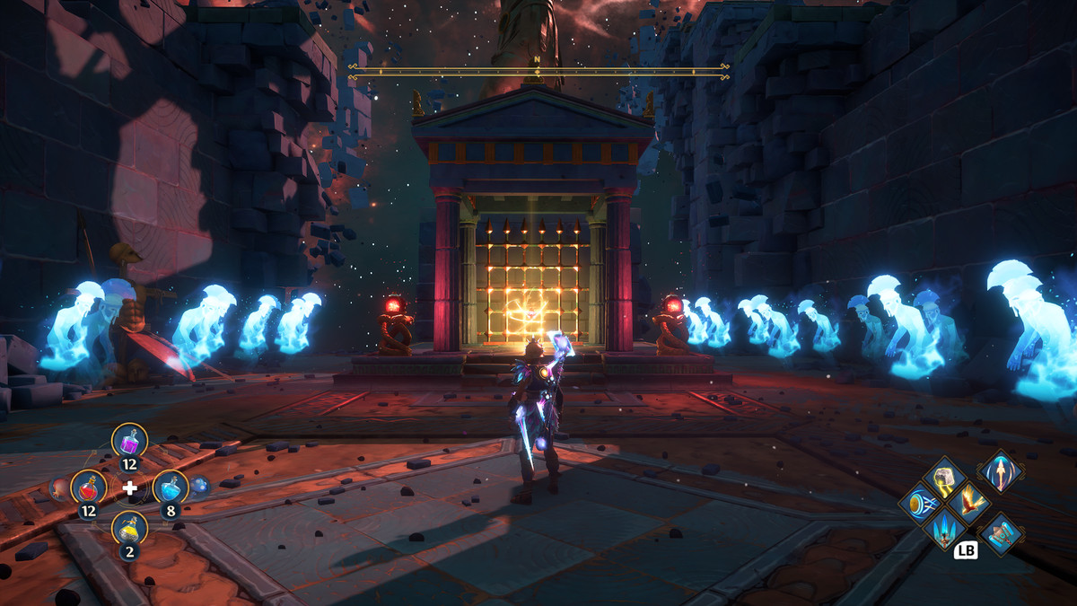 Rows of ghostly soldier surround the main character of Immortals Fenyx Rising