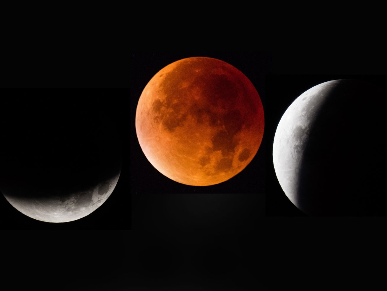 In this composite image, the moon is seen as it enters and leaves a lunar eclipse on September 28, 2015, in Glastonbury, England.