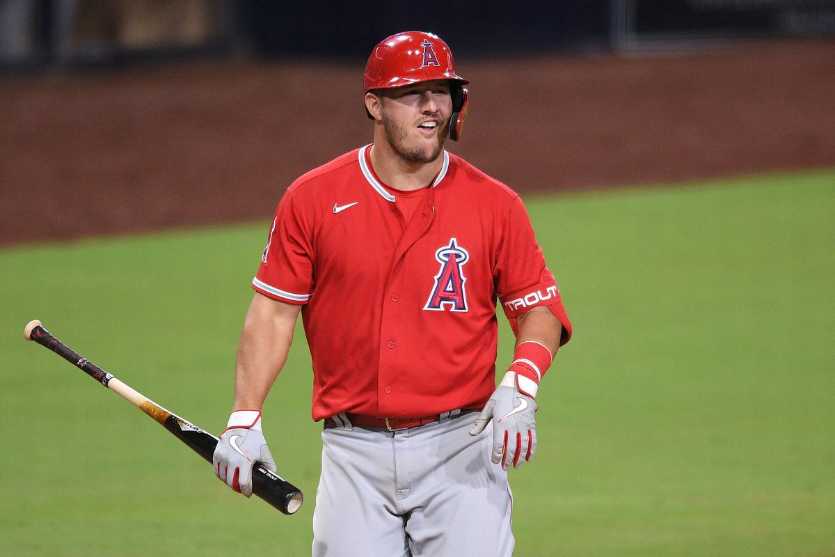 Los Angeles Angels center fielder Mike Trout reacts after striking out during the eighth inning against the San Diego Padres at Petco Park.