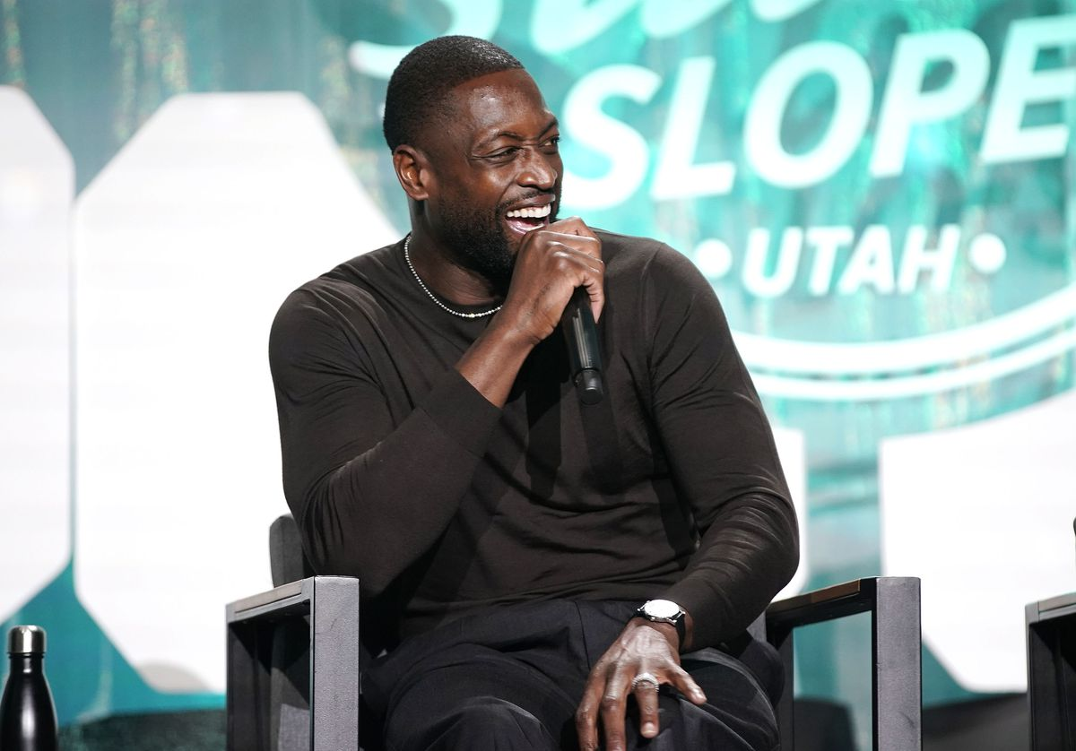 Dwyane Wade, part owner of the Utah Jazz, talks about a rebranding plan effort for the team during the Silicon Slopes Summit in Salt Lake City on Wednesday, Oct. 13, 2021.