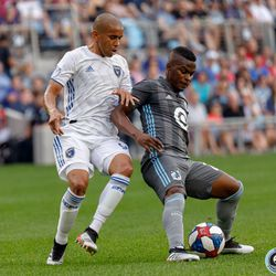 July 3, 2019 - Saint Paul, Minnesota, United States - Minnesota United forward Darwin Quintero (25) holds up the ball from San Jose midfielder Judson (93) during the match at Allianz Field.