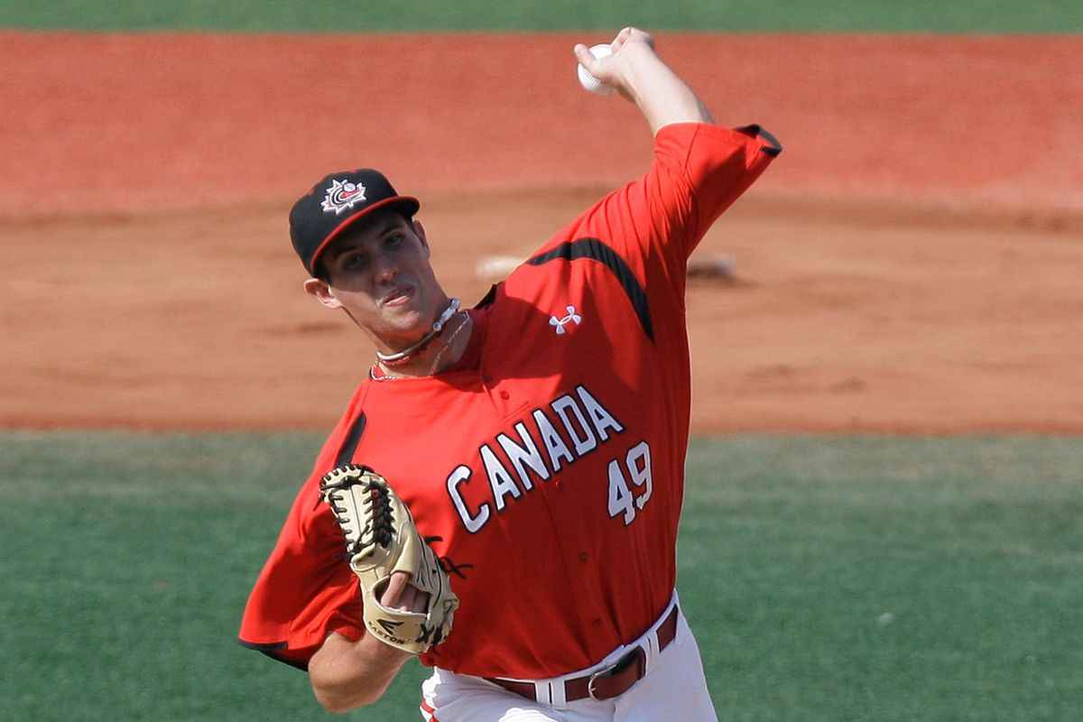 Ryan Kellogg pitching for Canada in 2012