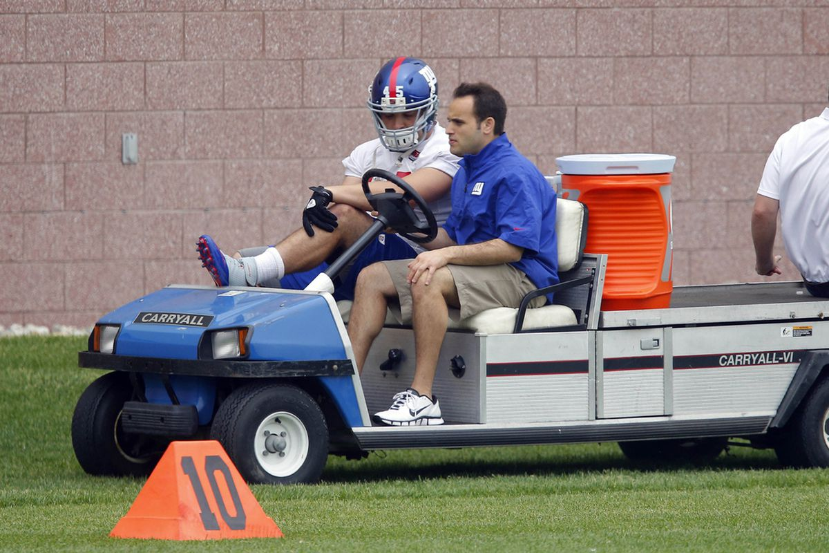 Henry Hynoski is carted off the field on Wednesday