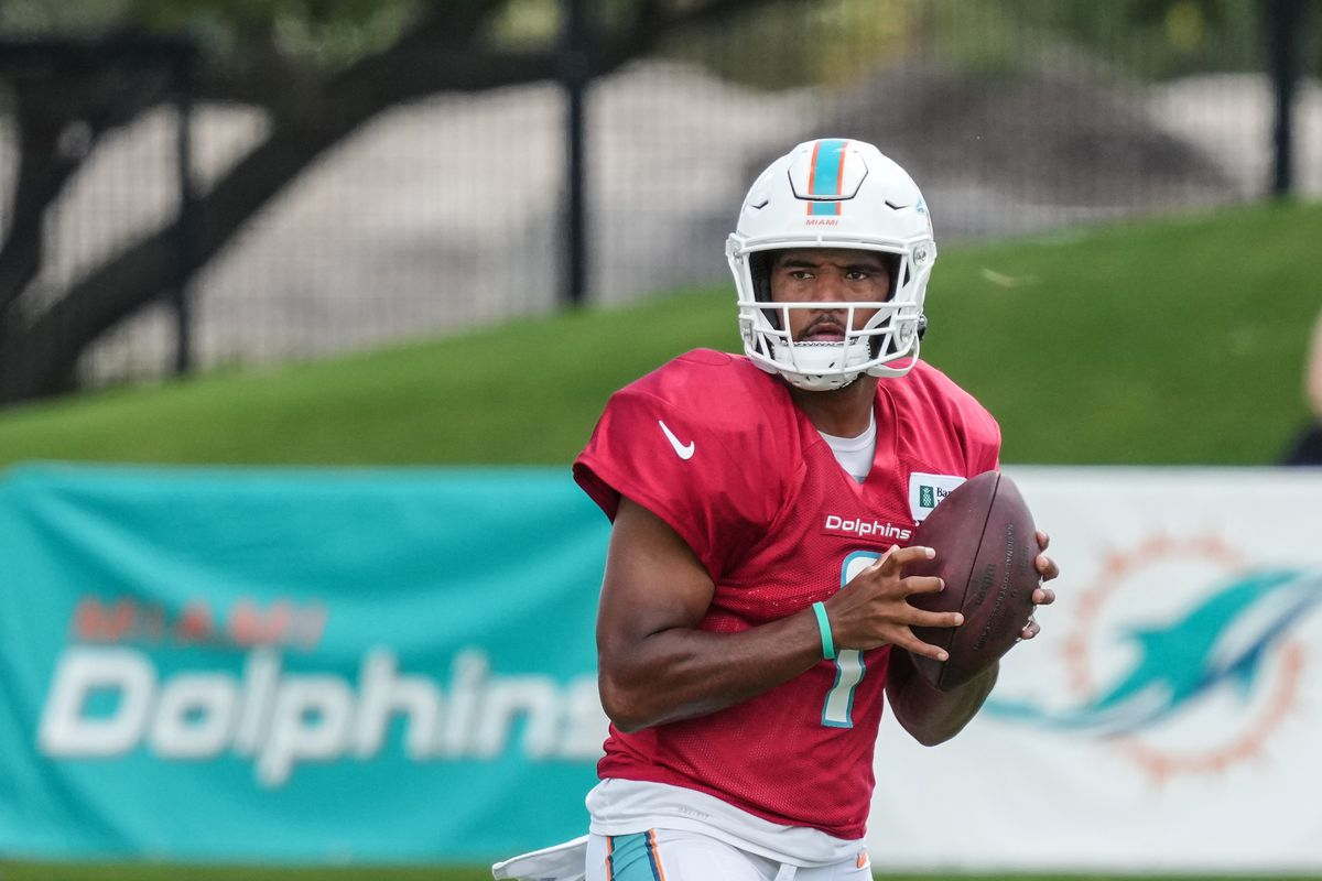 Quarterback Tua Tagovailoa #1 of the Miami Dolphins throws a pass during in practice drills Training Camp at Baptist Health Training Complex on August 07, 2021 in Miami Gardens, Florida.