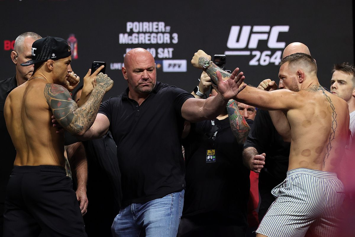 Dustin Poirier and Conor McGregor at UFC 264 fight week