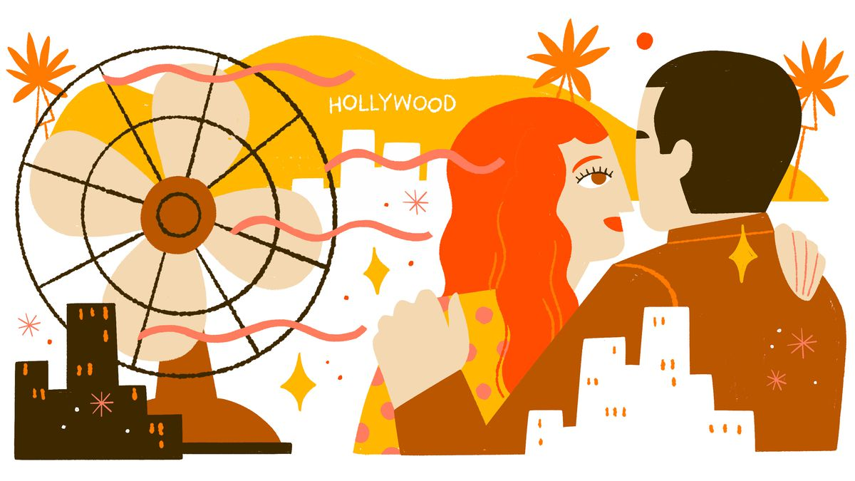 A man and woman embrace with the backdrop of the Hollywood sign and a generic city skyline. A large fan with ribbons takes up the left half of the composition. Illustration.