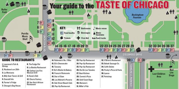 Taste Of Chicago Map Taste of Chicago map, guide to restaurants, to help you plan visit