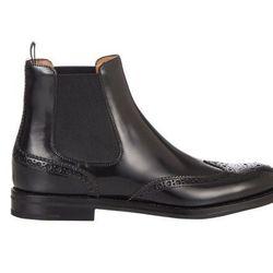 "Church's 'Ketsby' wingtip Chelsea boots, <a href=""http://www.barneys.com/on/demandware.store/Sites-BNY-Site/default/Product-Show?pid=503558966&utm_source=J84DHJLQkR4&utm_medium=affiliate&siteID=J84DHJLQkR4-WI6elu9e_5hRzKQo9SDbMQ"">$610</a> at Barneys"